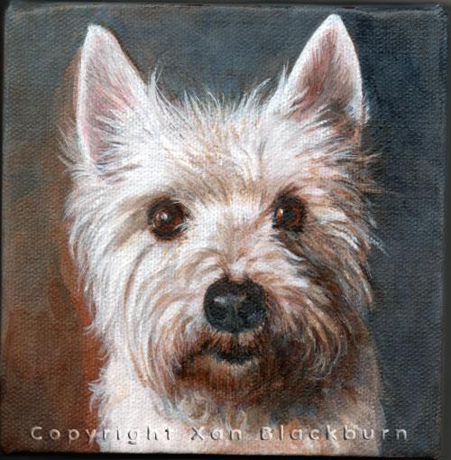 """Beau"" by Xan Blackburn. Acrylic on canvas panel.  Pet portrait, hound, dog, dog portrait"