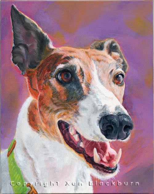 """BeeWiseman"" by Xan Blackburn. Acrylic on canvas panel.  Pet portrait, hound, dog, dog portrait"