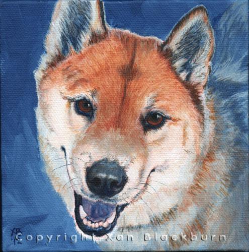 """Haj"" by Xan Blackburn. Acrylic on canvas panel.  Pet portrait, hound, dog, dog portrait"