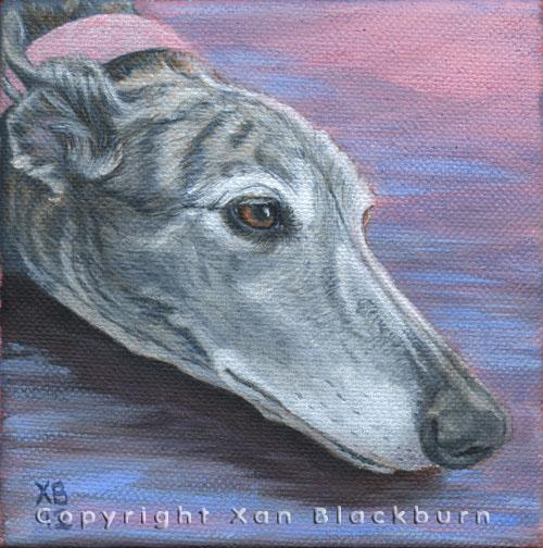 """""""Hannah"""" by Xan Blackburn. Acrylic on canvas.  Pet portrait, hound, dog, dog portrait"""
