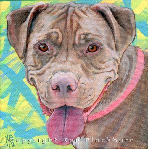 """""""Mosa"""" by Xan Blackburn. Acrylic on canvas.  Pet portrait, hound, dog, dog portrait"""