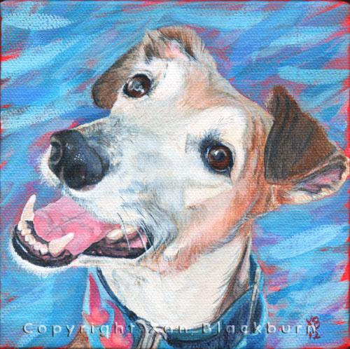 """""""Ruger"""" by Xan Blackburn. Acrylic on canvas.  Pet portrait, hound, dog, dog portrait"""