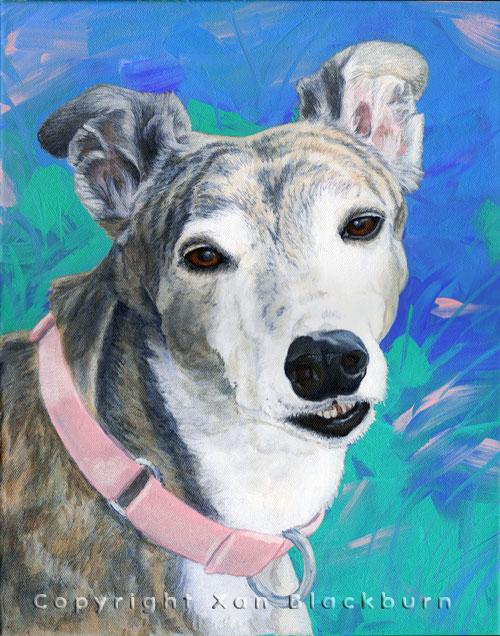 """""""Star"""" by Xan Blackburn. Acrylic on canvas.  Pet portrait, hound, dog, dog portrait"""