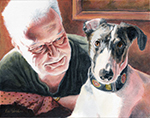 Dad and Lilly, by Xan Blackburn, people and pet portraits