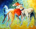 Trish's Three, by Xan Blackburn, acyrlic on panel